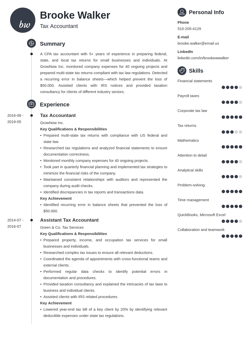 tax accountant resume example template primo