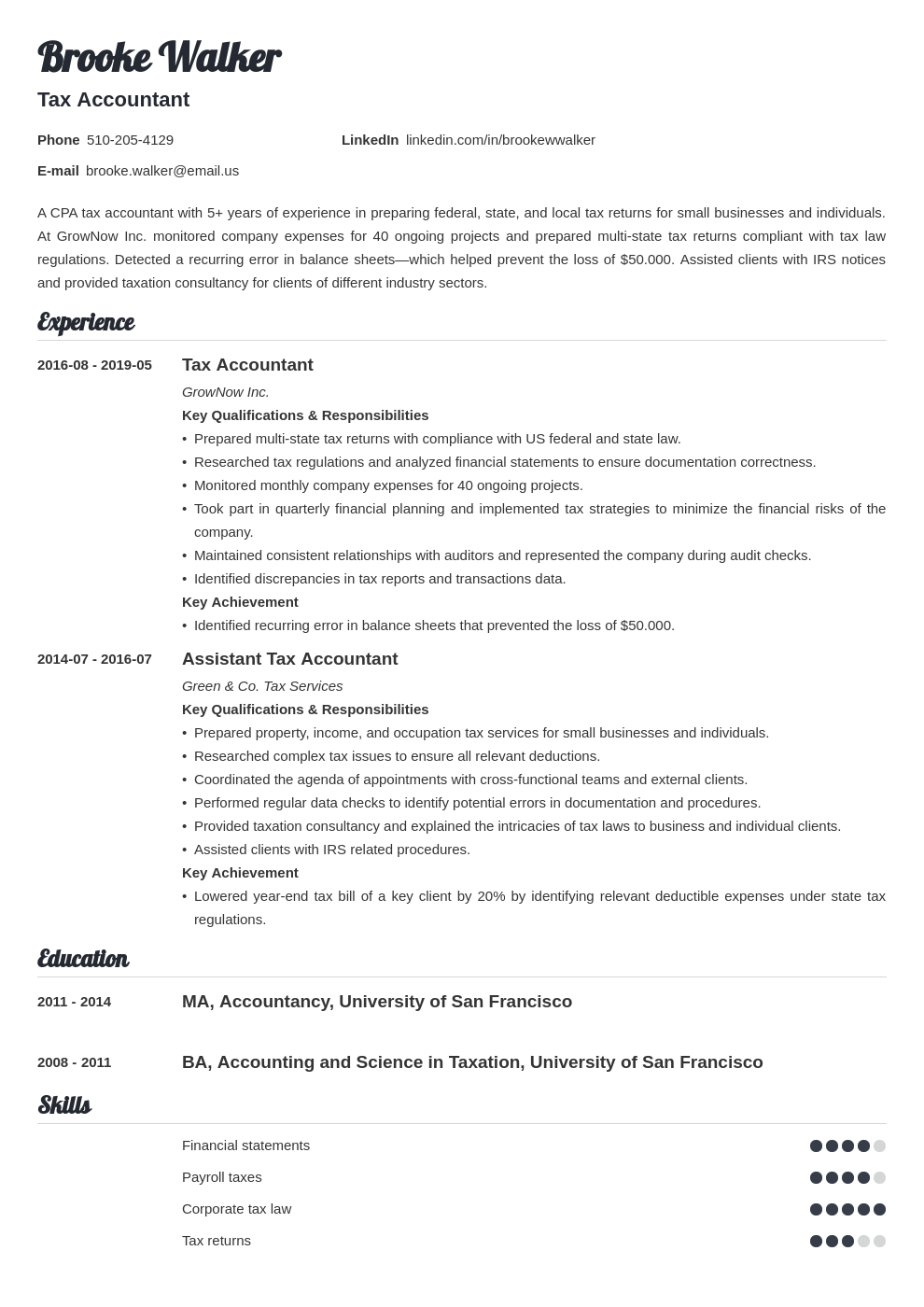 tax accountant resume example template valera