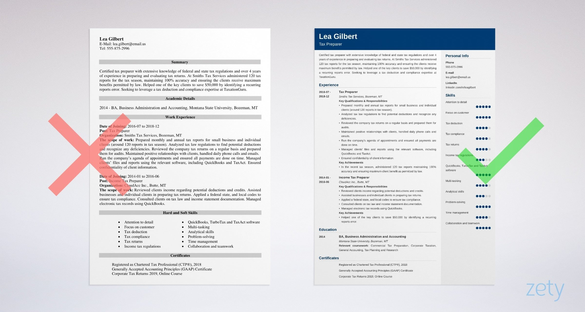 tax preparer resume templates
