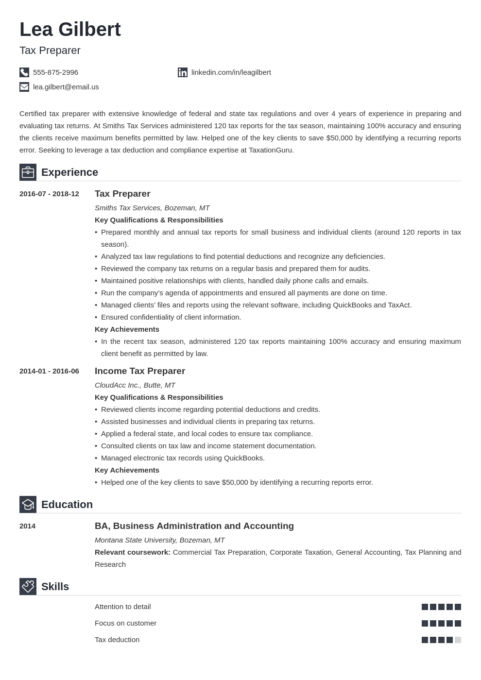 tax preparer resume example template iconic