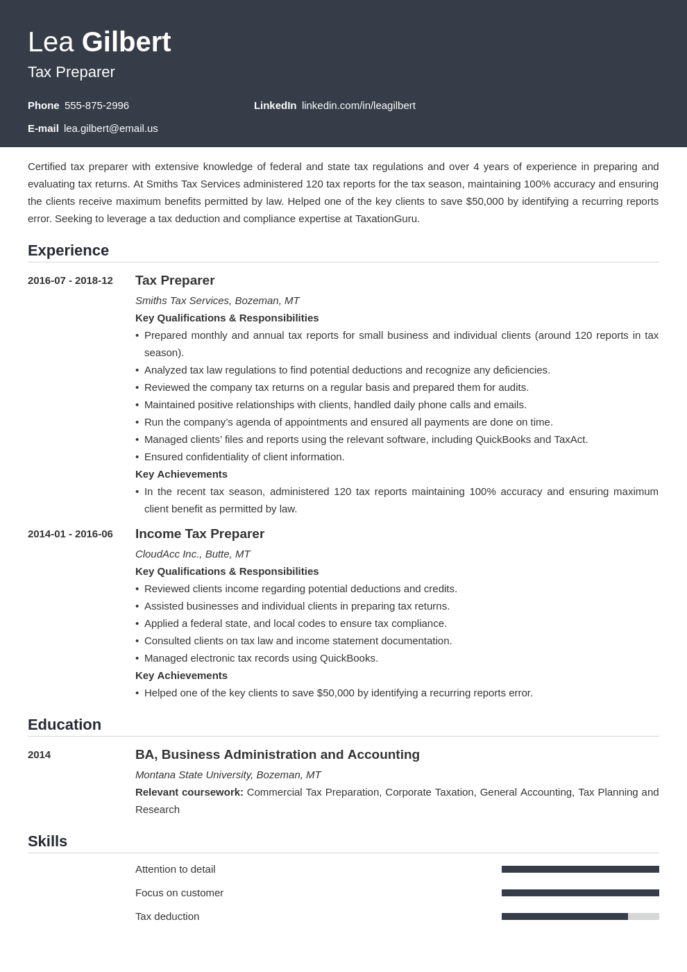 tax preparer resume example template influx