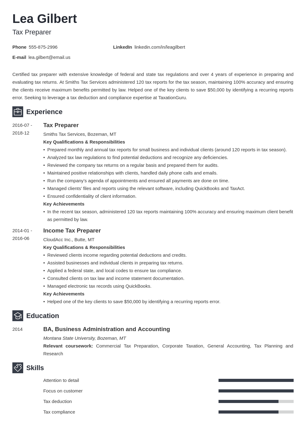 tax preparer resume example template newcast