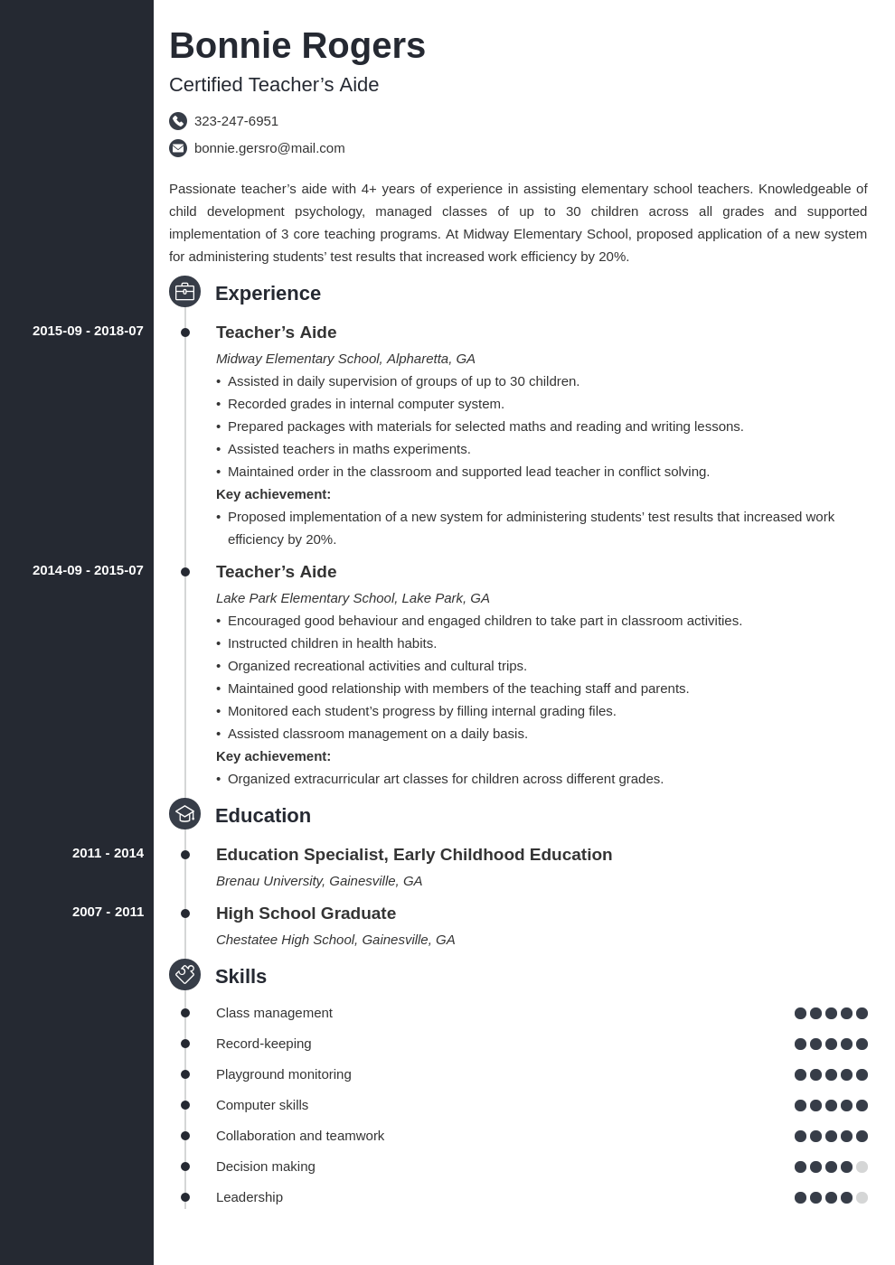 teacher aide resume example template concept