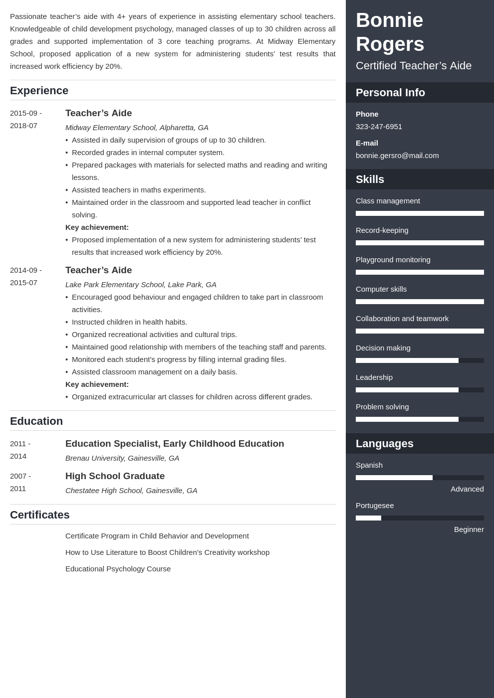 teacher aide resume example template enfold