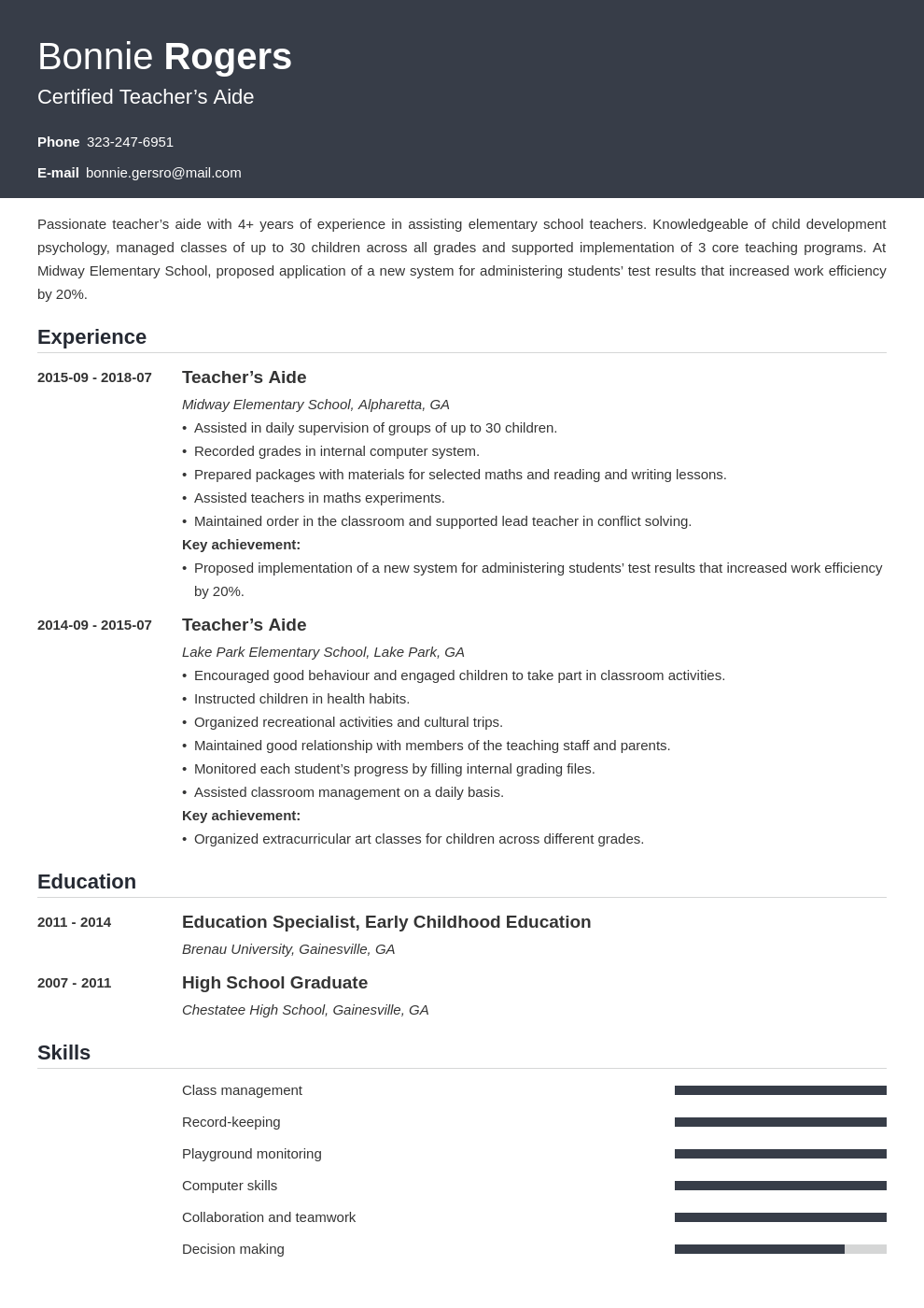 teacher aide resume example template influx