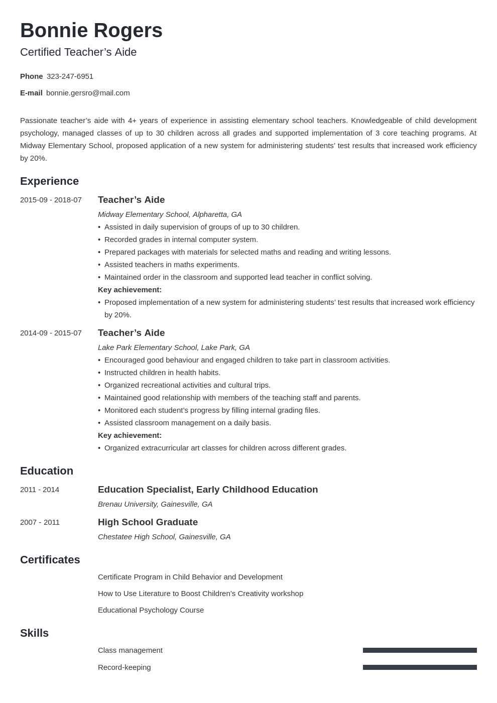 teacher aide resume example template minimo