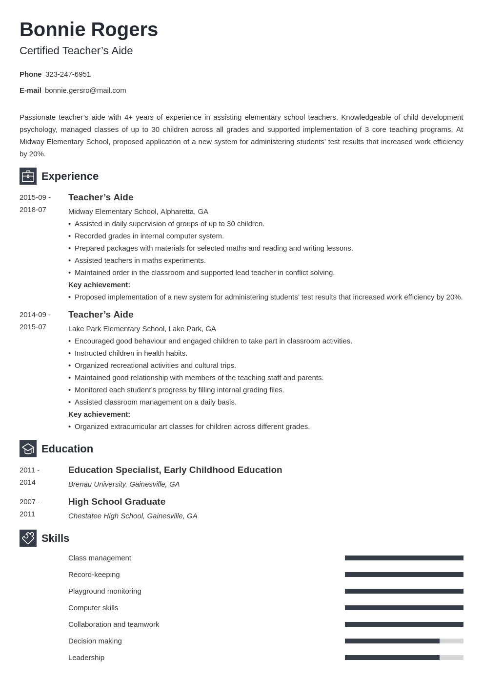 teacher aide resume example template newcast