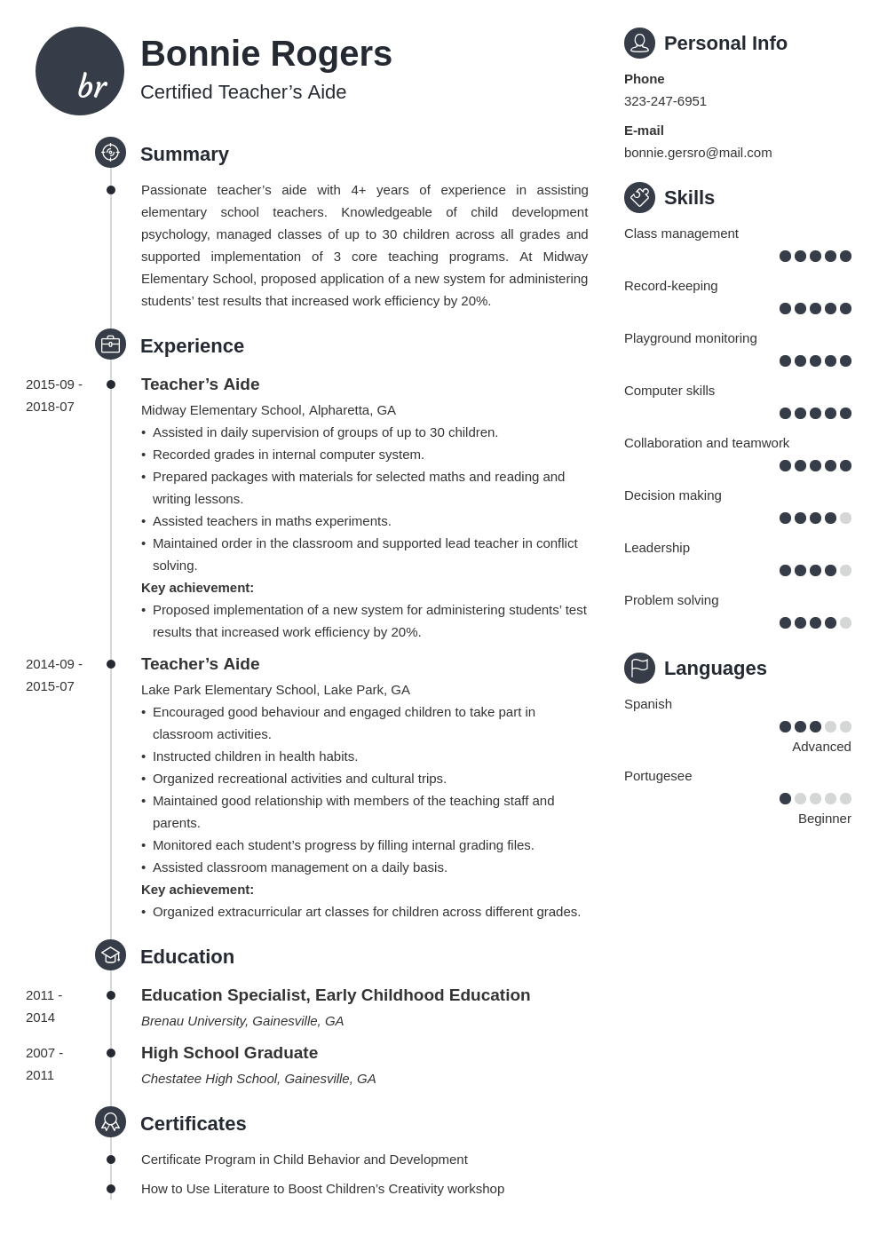 teacher aide resume example template primo