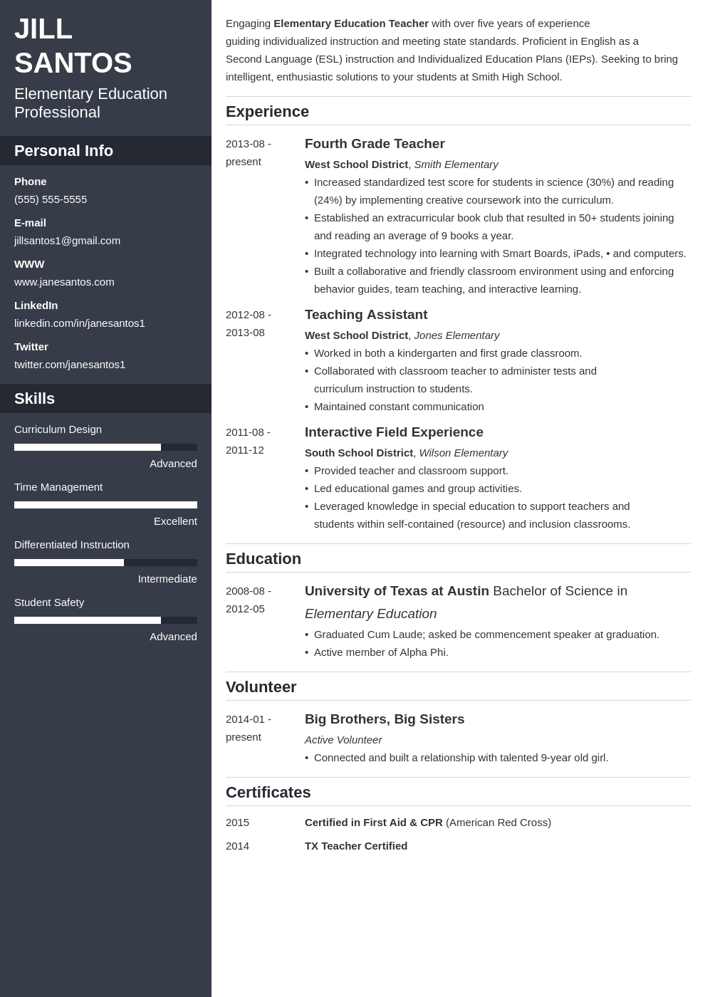Teacher Resume: Sample & Complete Guide [+20 Examples]