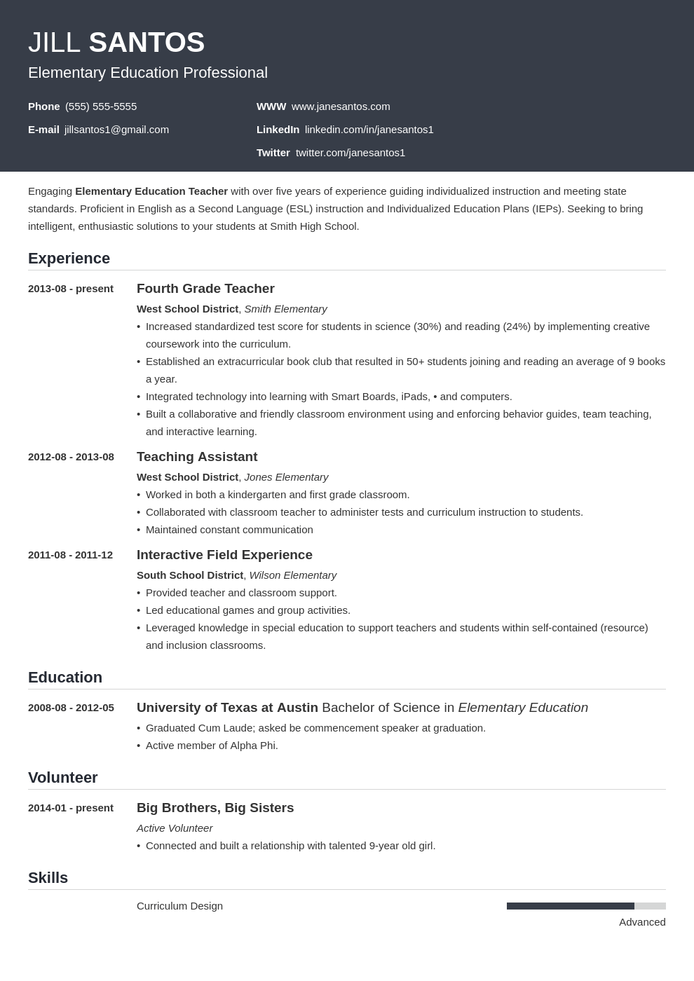 Teacher Resume Examples Template Skills Tips