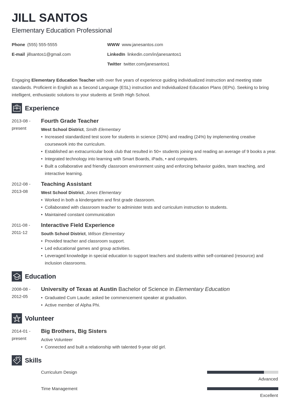 Teacher Resume Sample Complete Guide 20 Examples