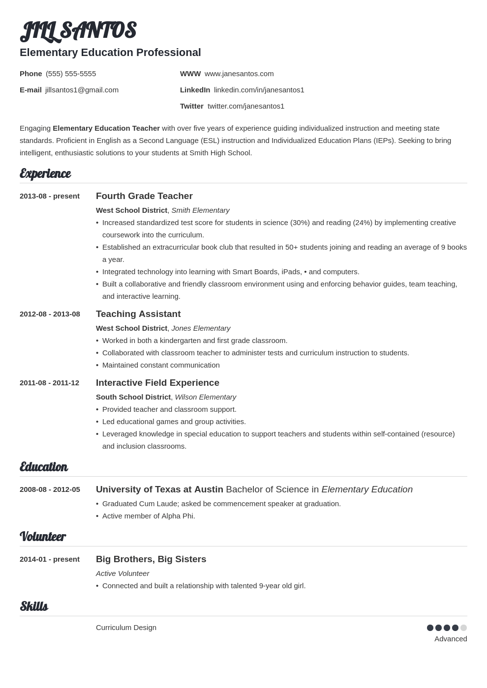 resume for teaching profession