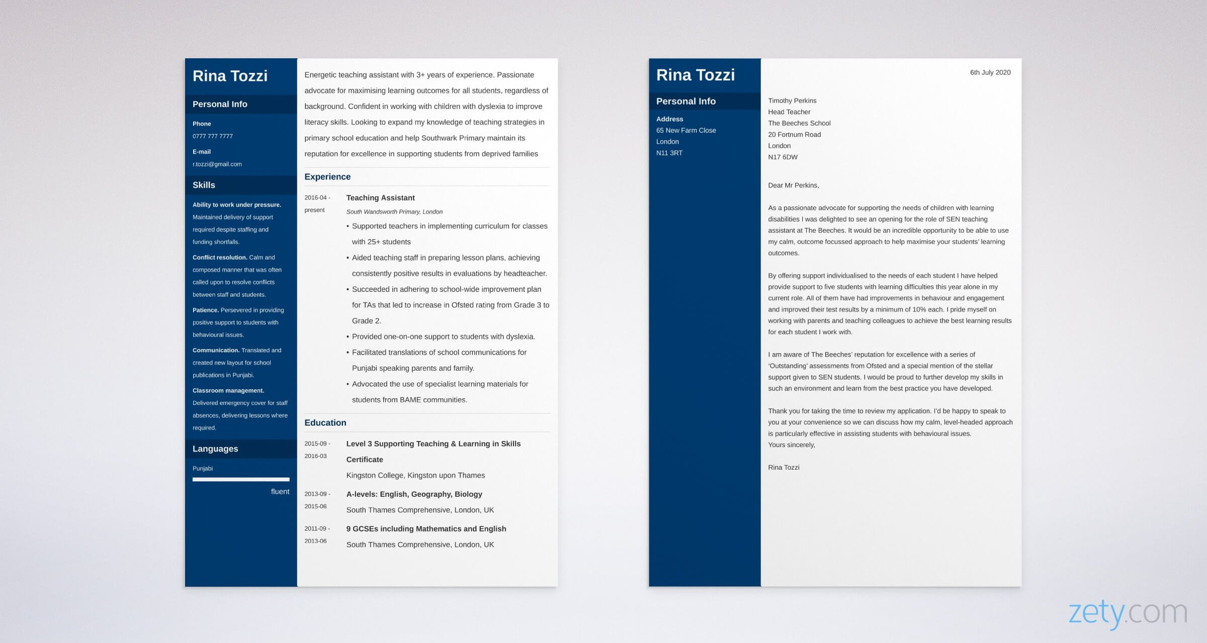 teaching assistant cv and cover letter set