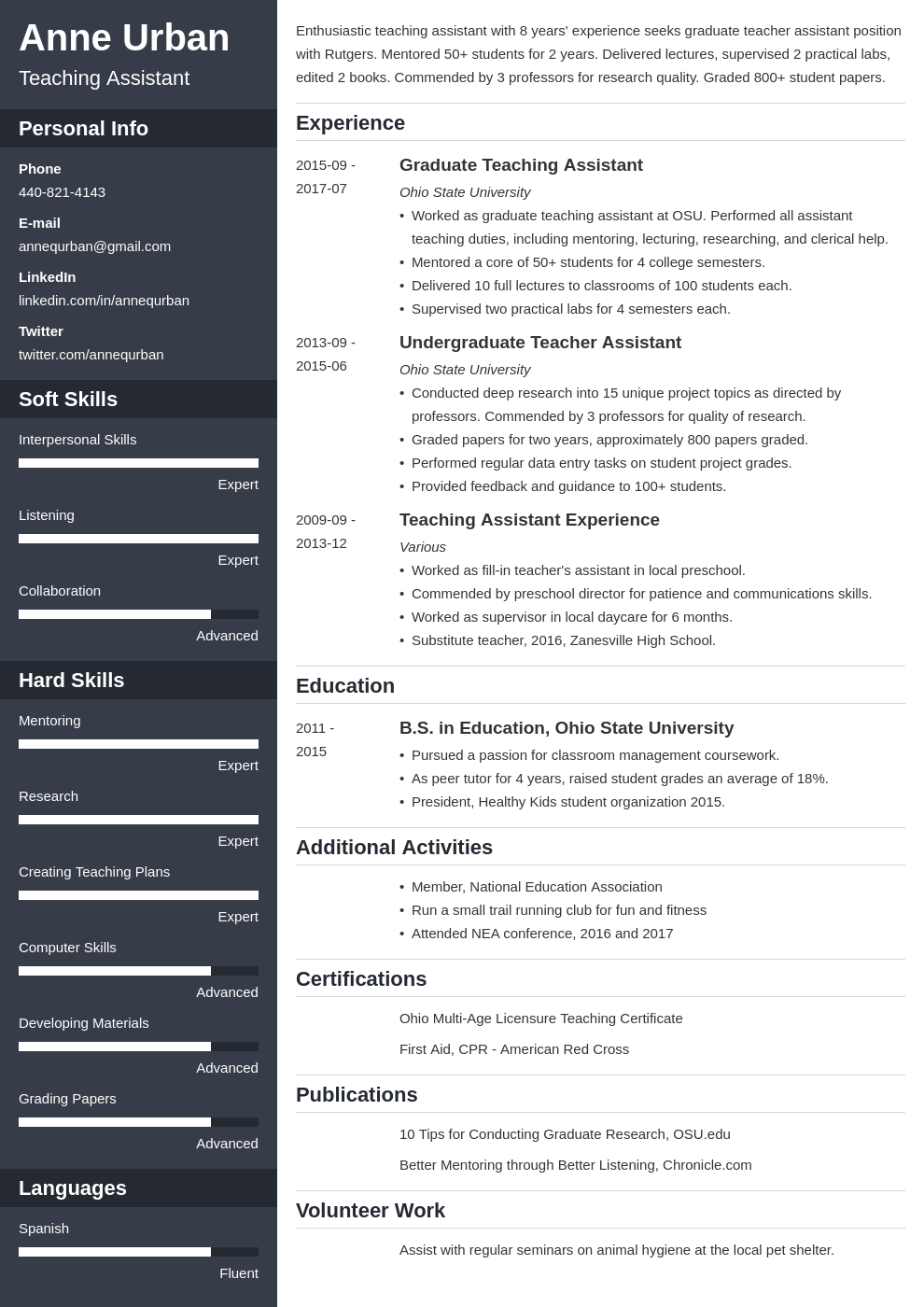 teaching assistant resume example template cascade