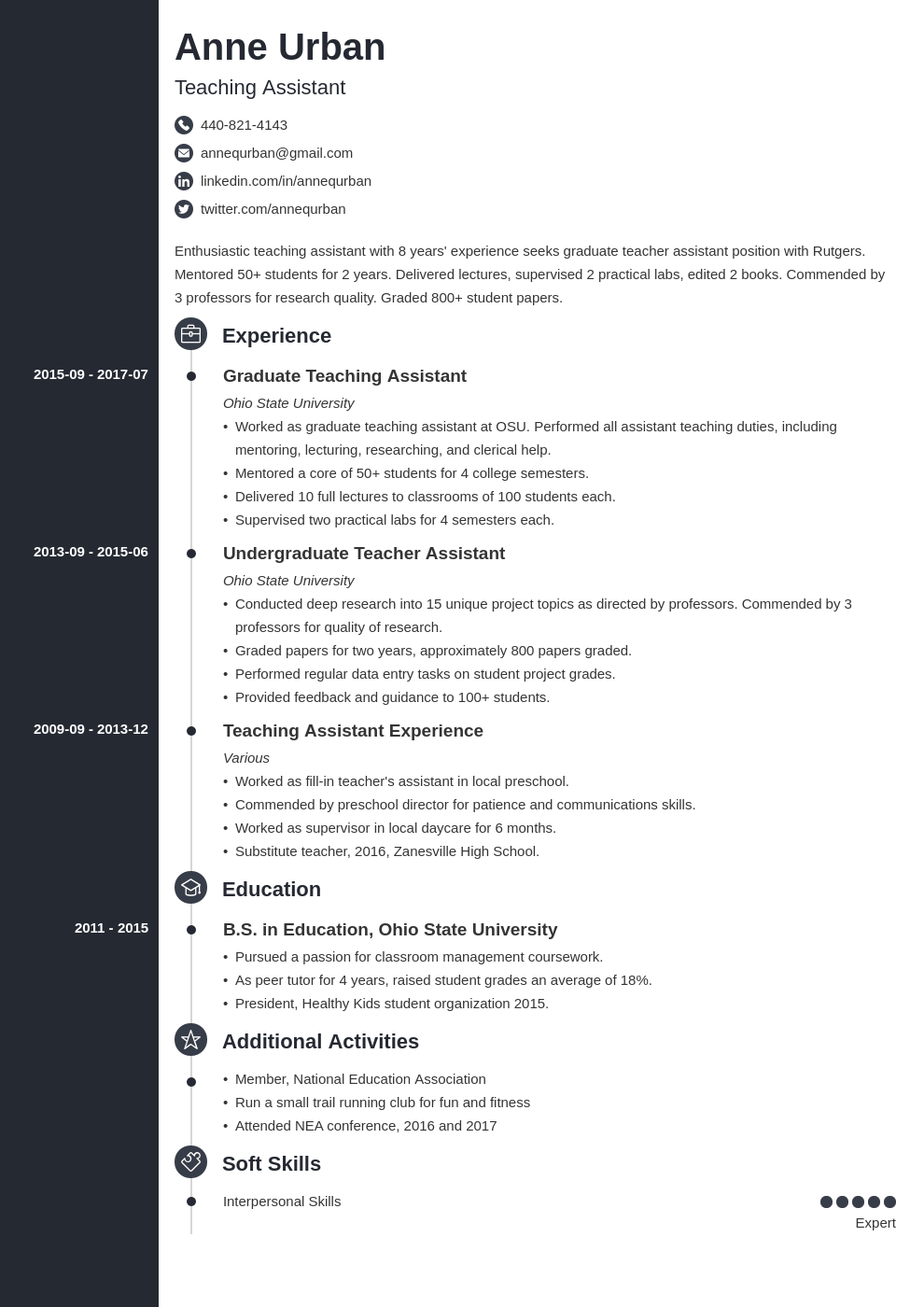 teaching assistant resume example template concept