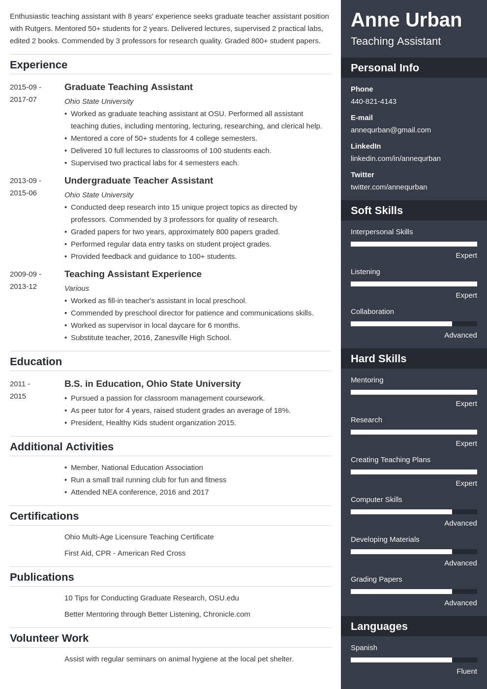 teaching assistant resume example template enfold