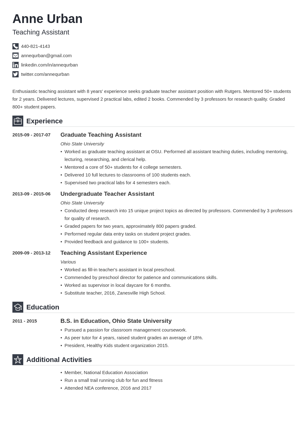 teaching assistant resume example template iconic