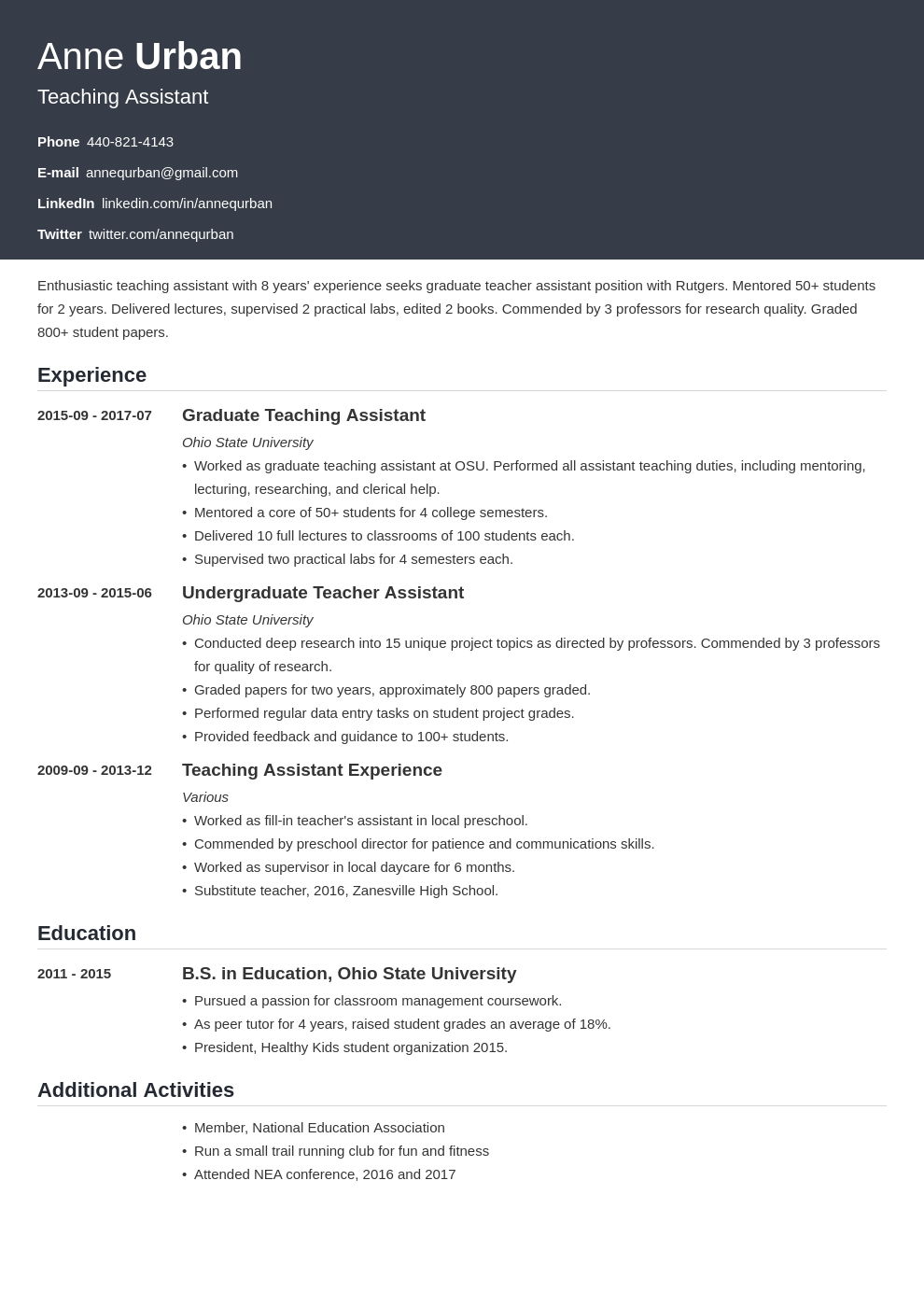 teaching assistant resume example template influx