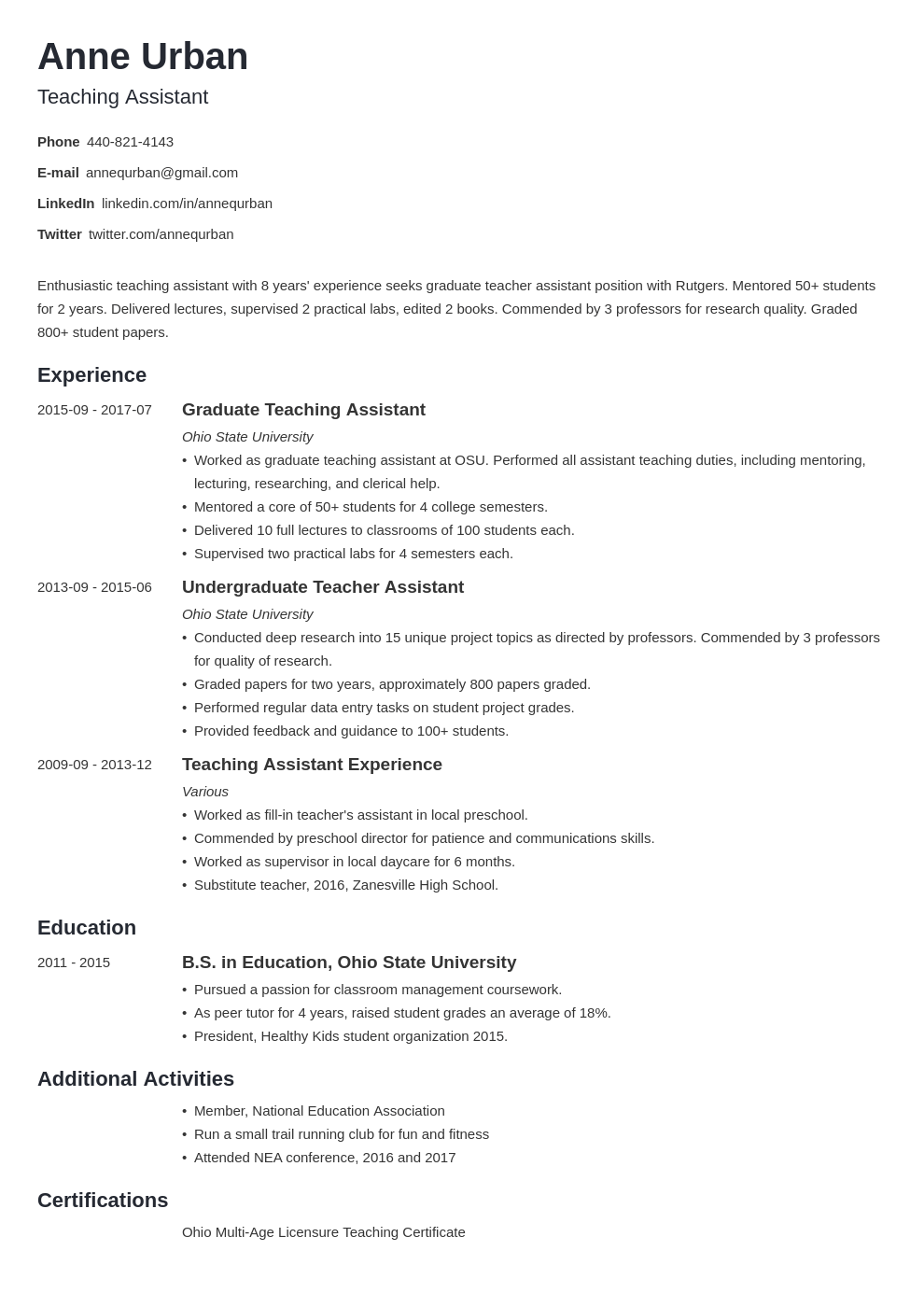 teaching assistant resume example template minimo