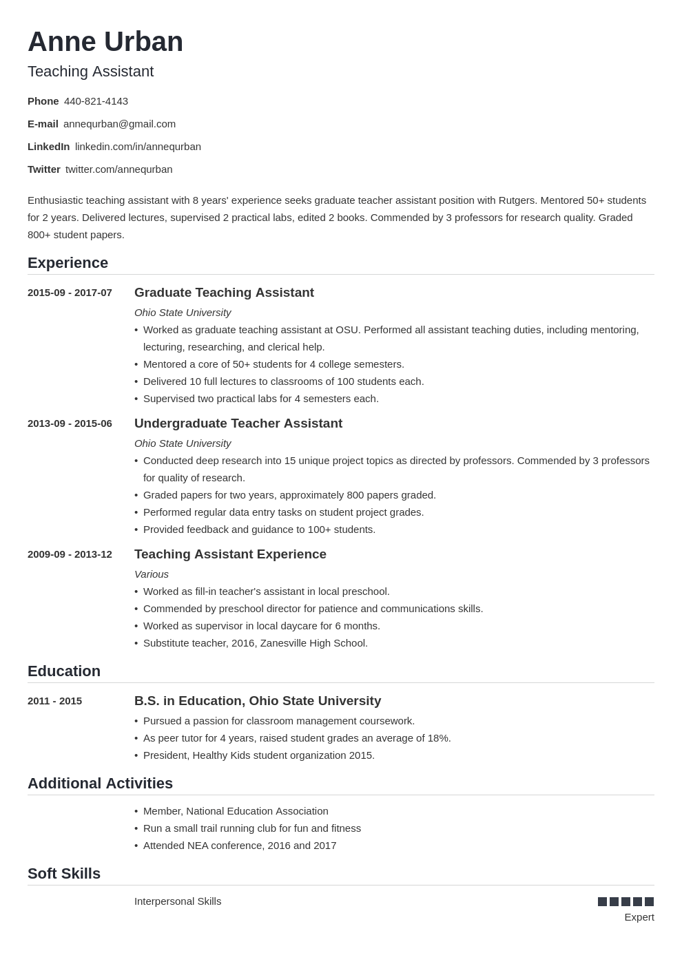 teaching assistant resume example template nanica