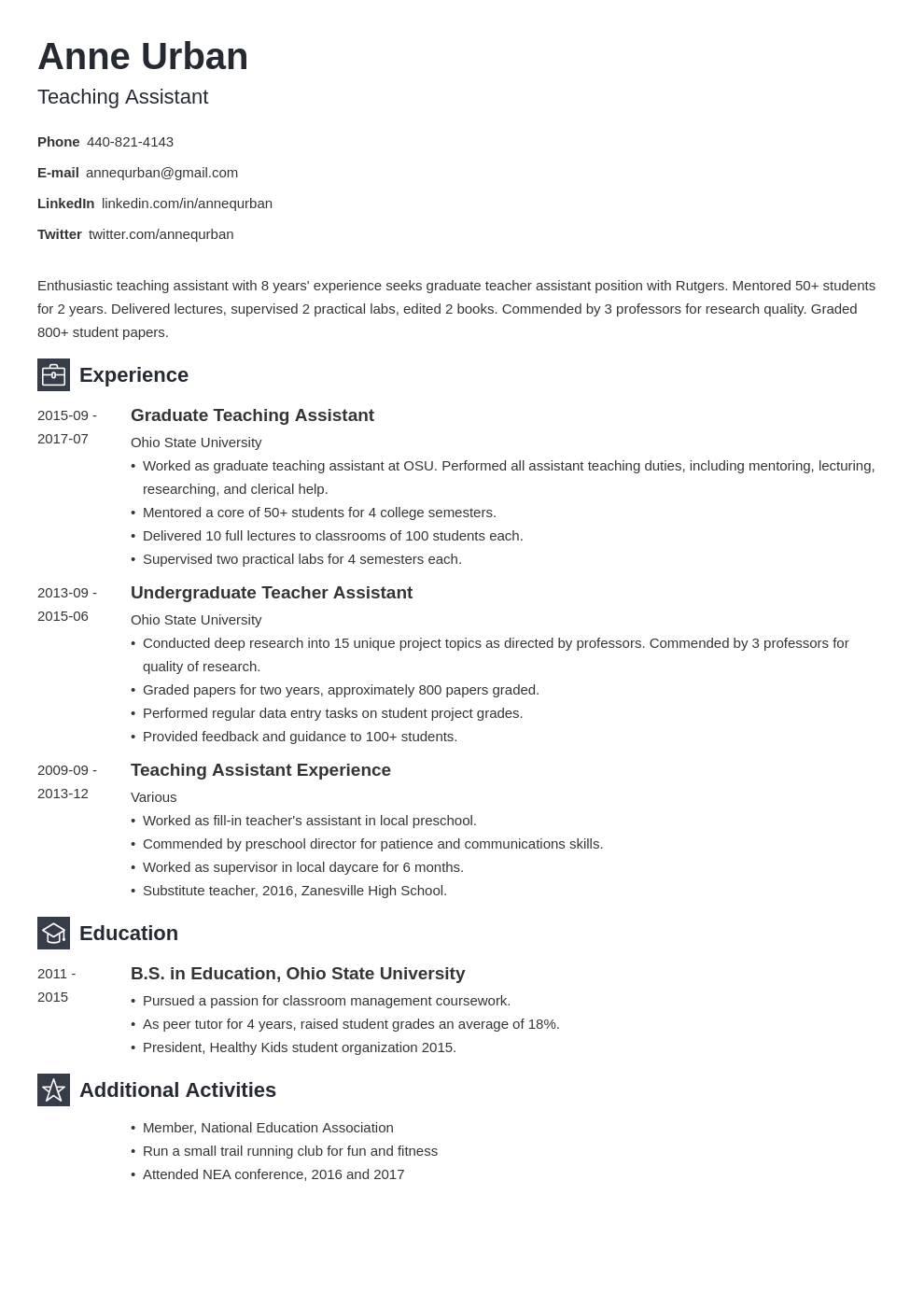 teaching assistant resume example template newcast