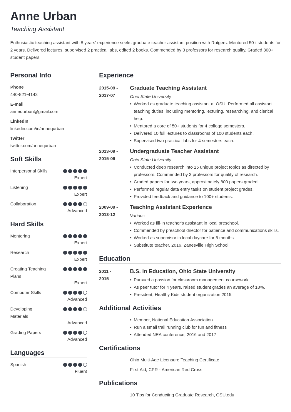 teaching assistant resume example template simple