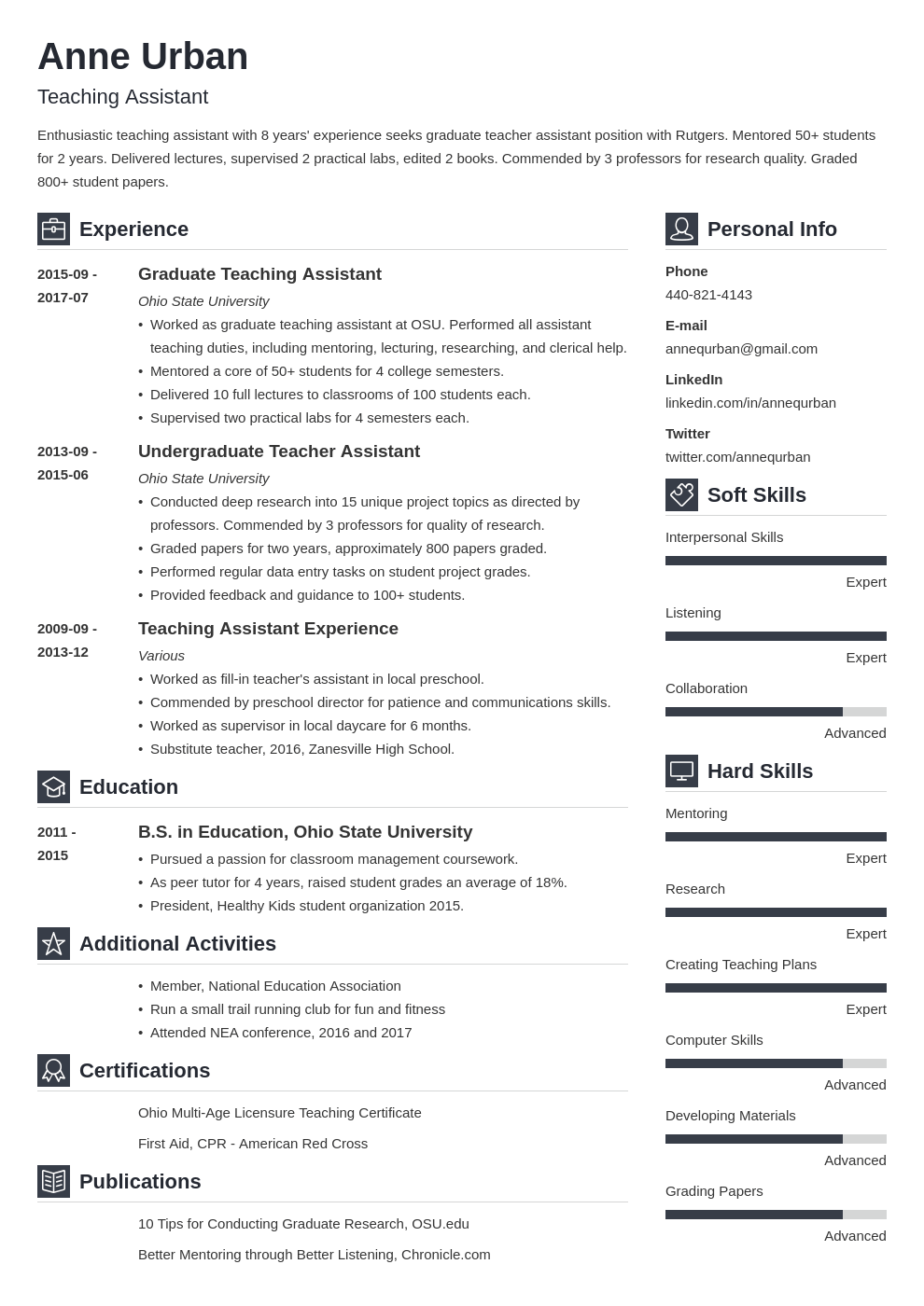 teaching assistant resume example template vibes