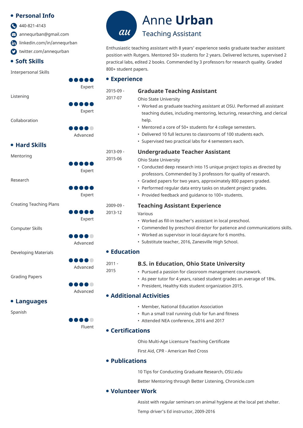Teaching Assistant Resume Sample Writing Guide 20 Examples