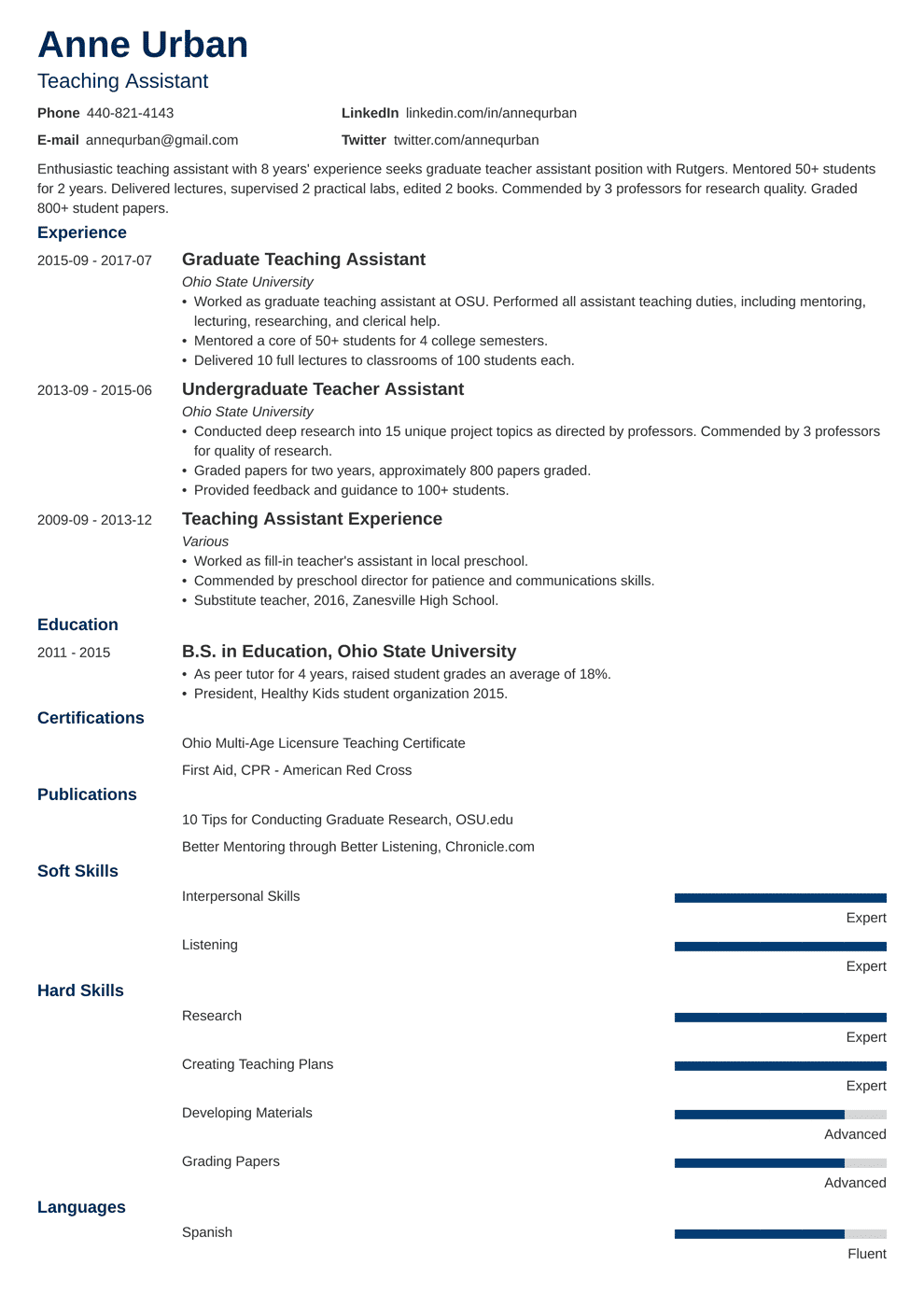 Teaching Assistant Resume: Sample & Writing Guide [20+ Examples]