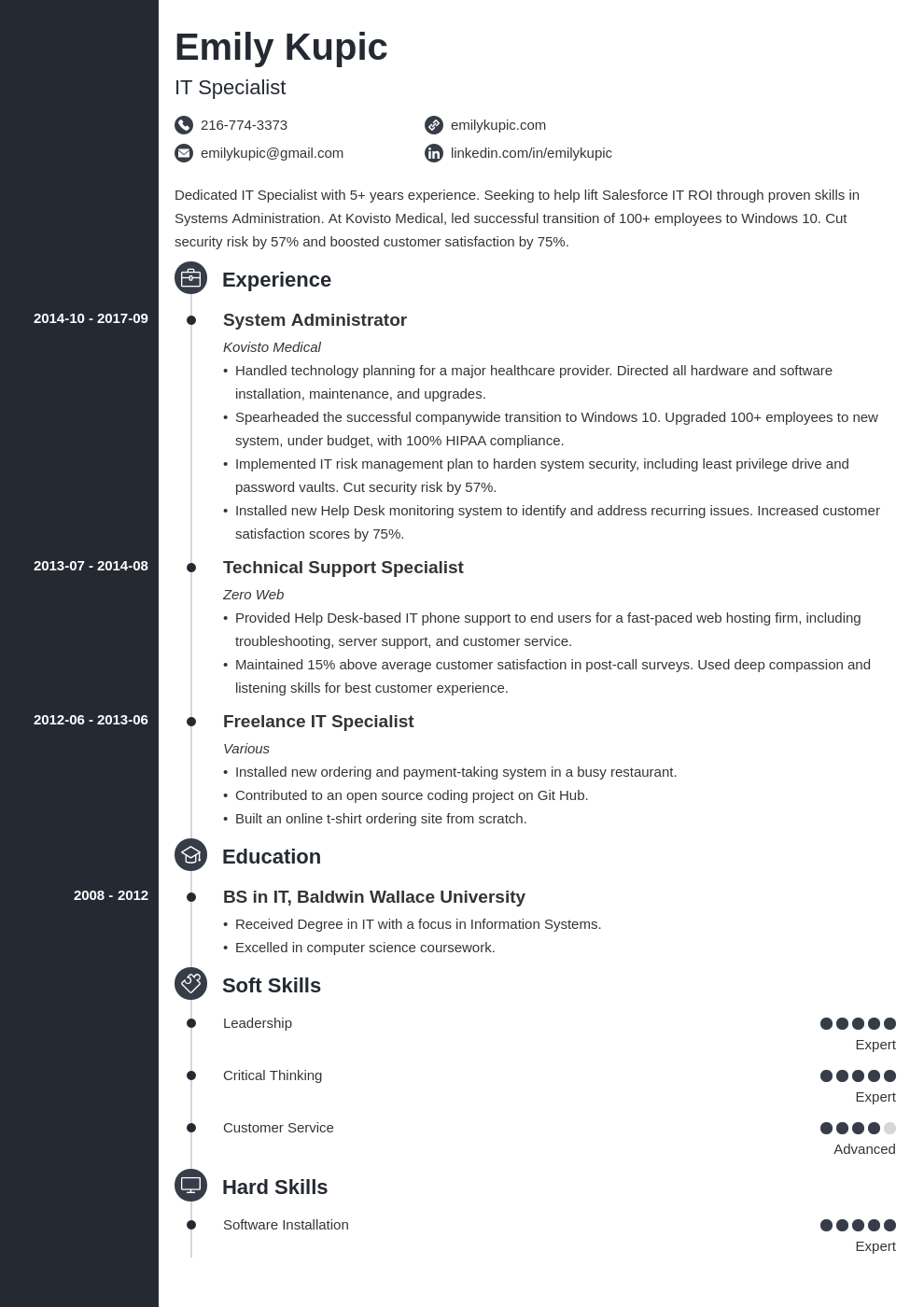 technical resume example template concept