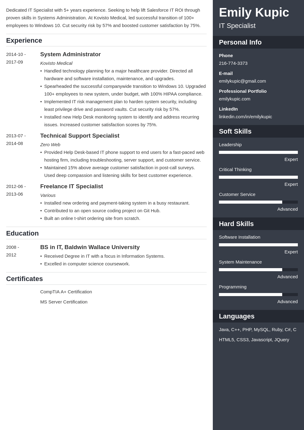 technical resume example template enfold