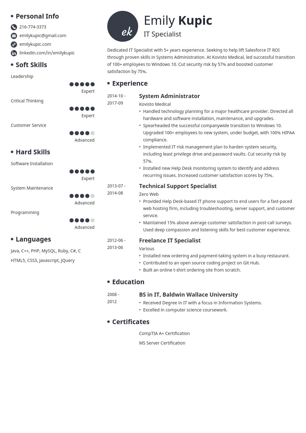 Technical Resume Template Guide 20 Examples