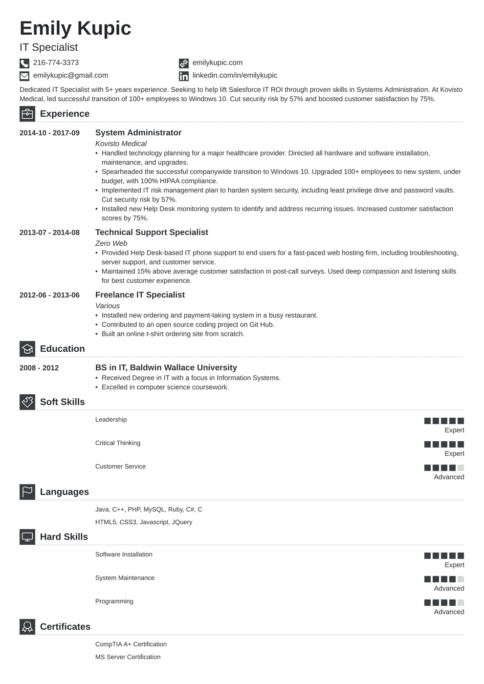 Technical Resume: Template, Guide & 20+ Examples