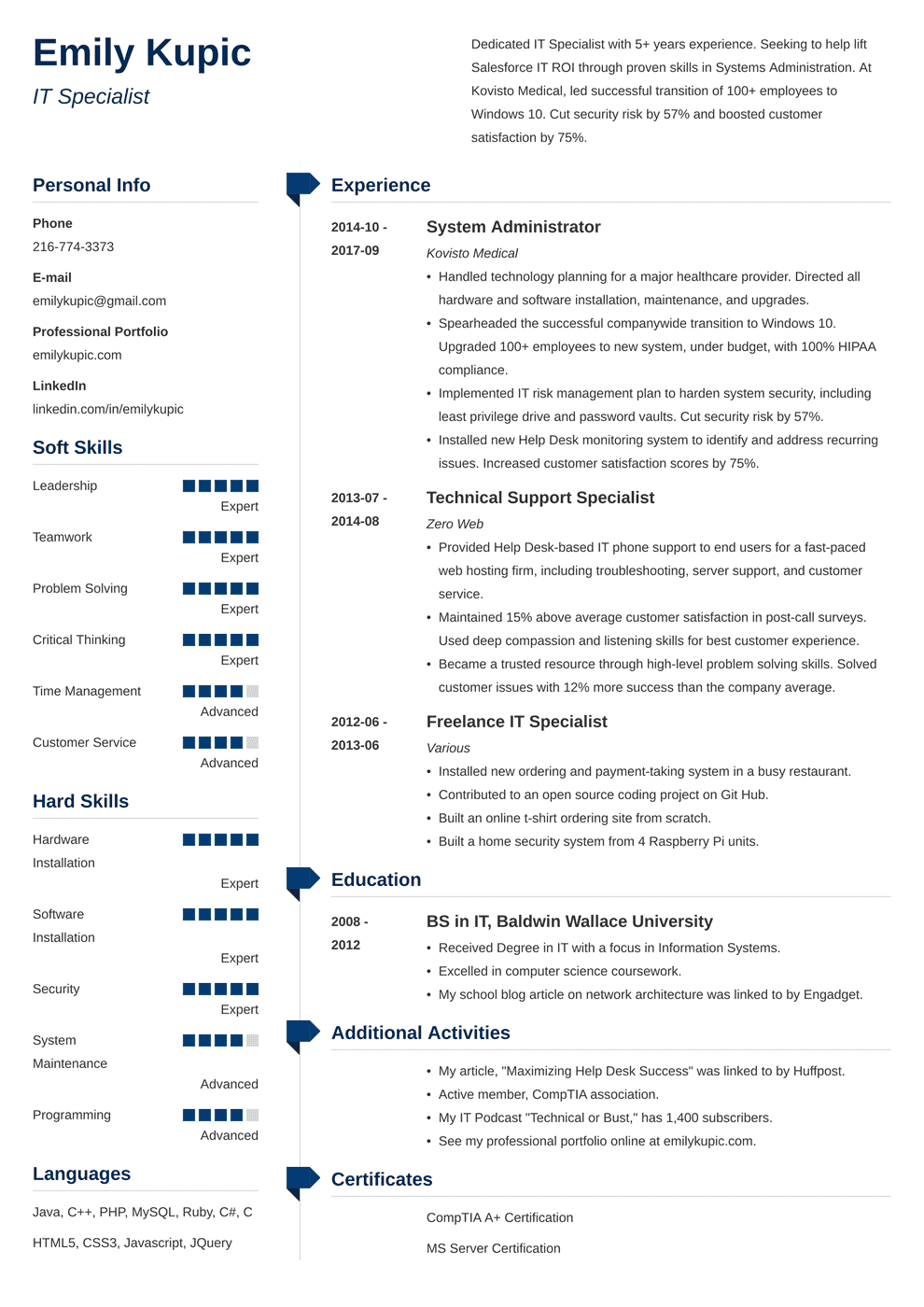 Technical Resume Templates | Technical Resume Sample And Complete Guide 20 Examples