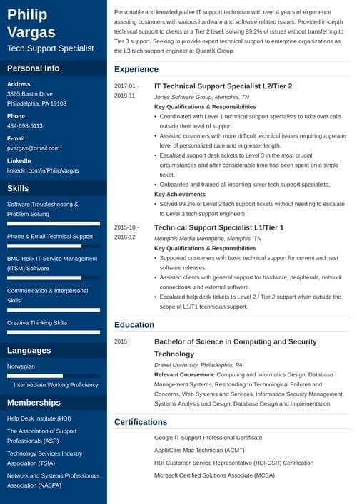 technical support cover letter example