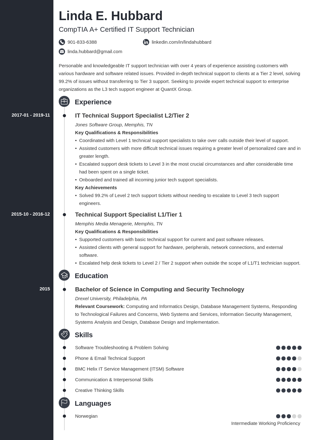 technical support resume example template concept