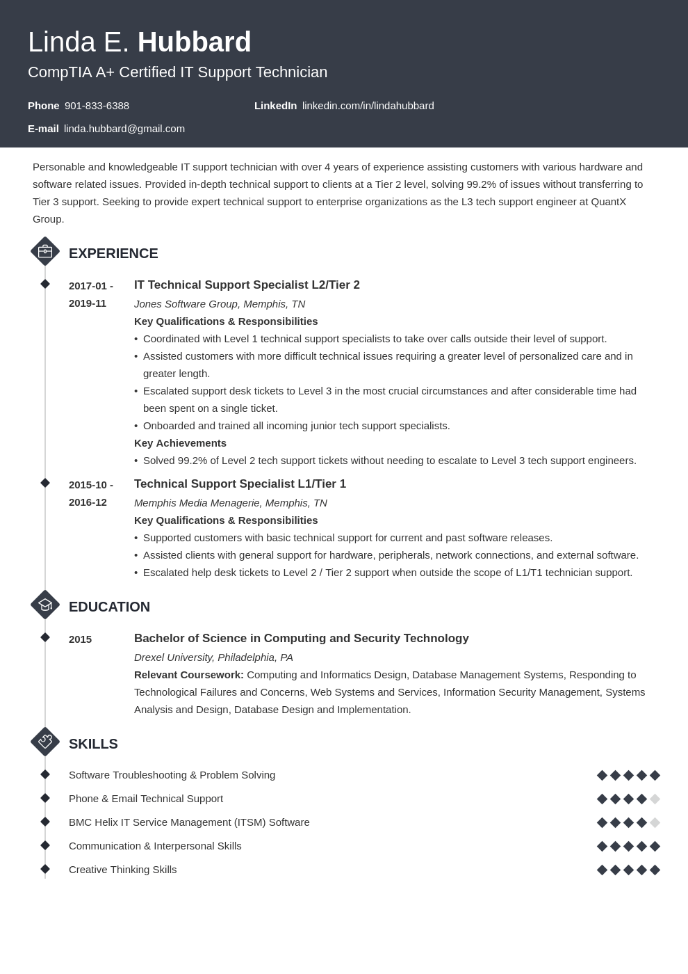 technical support resume example template diamond