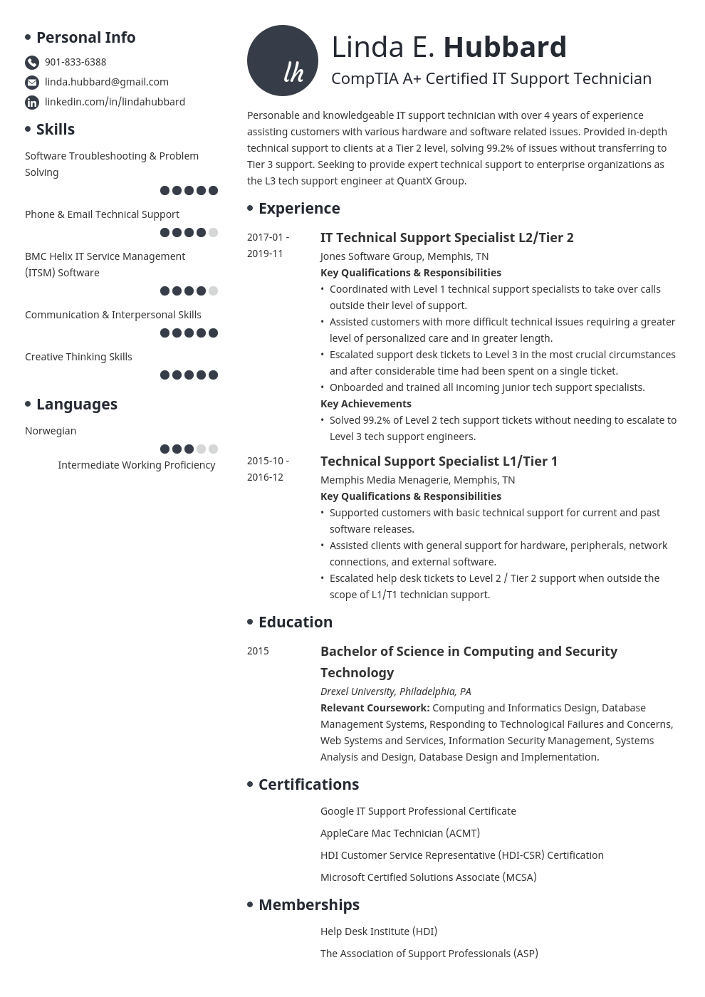 technical support resume example template initials