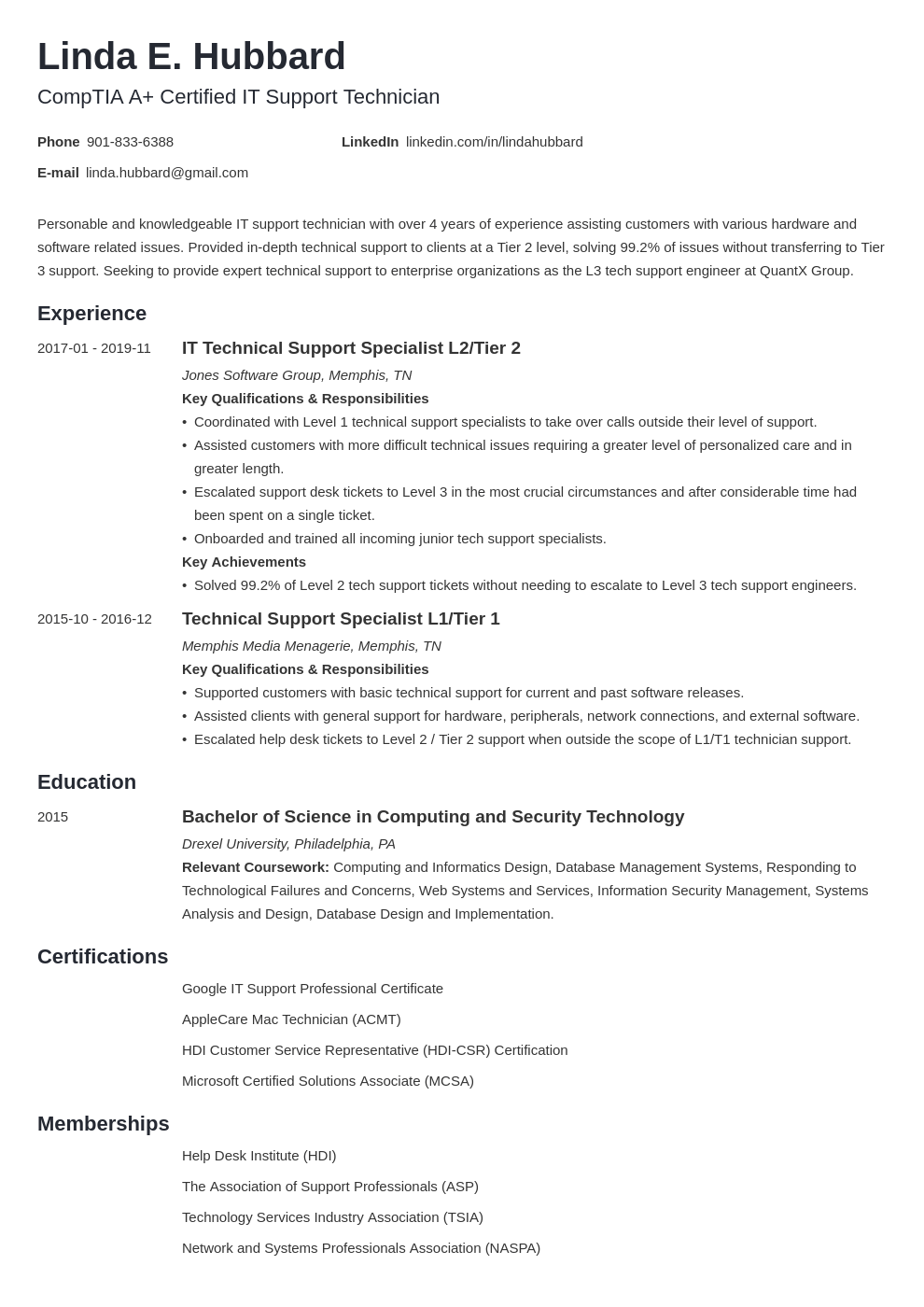 technical support resume example template minimo