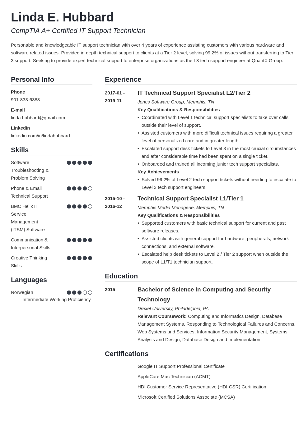 technical support resume example template simple
