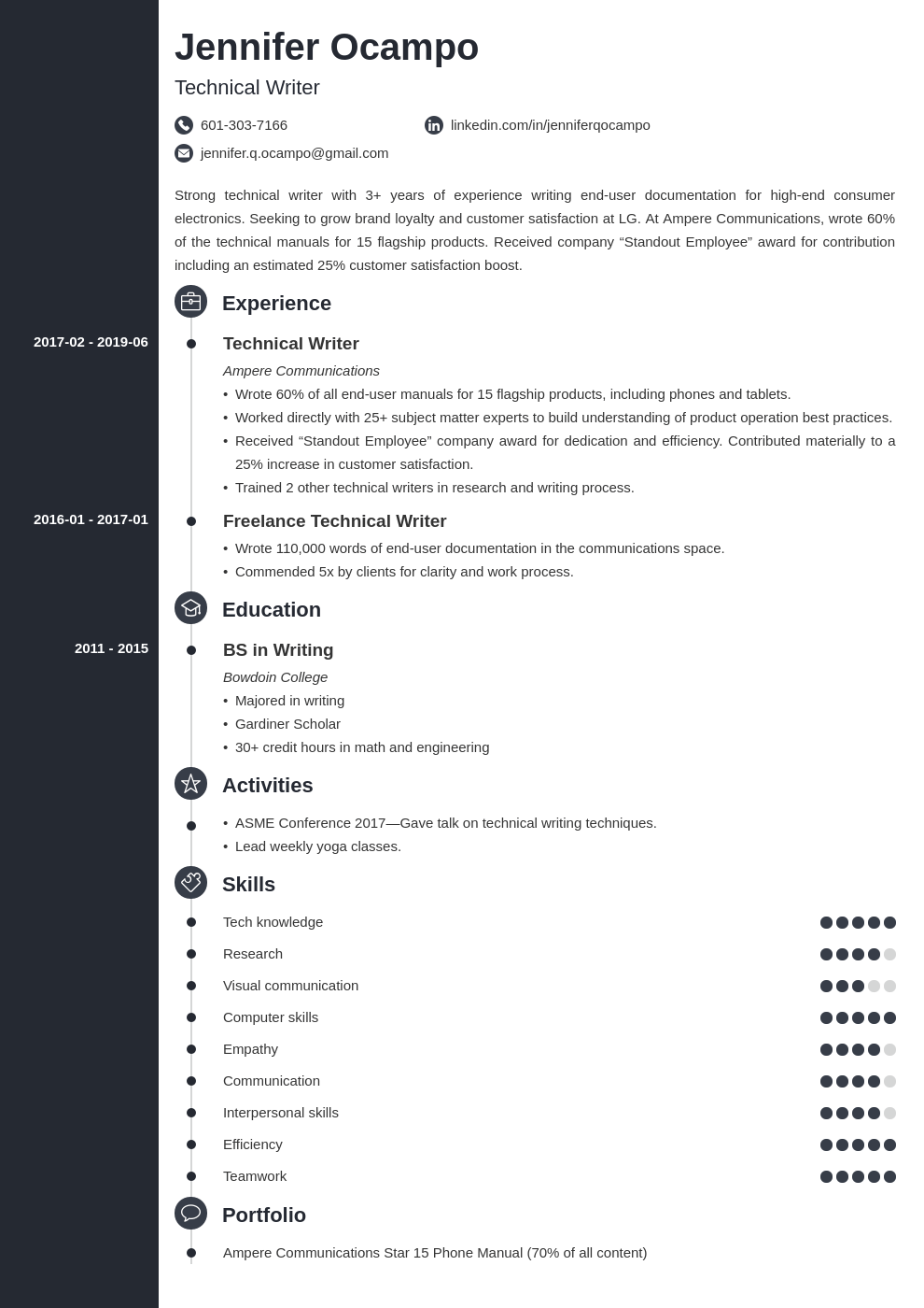 technical writer resume example template concept