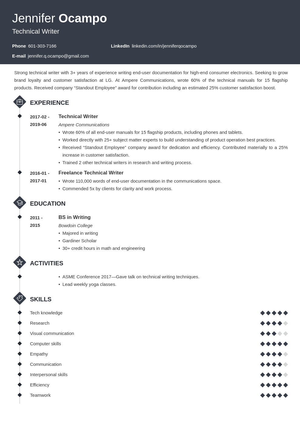 technical writer resume example template diamond