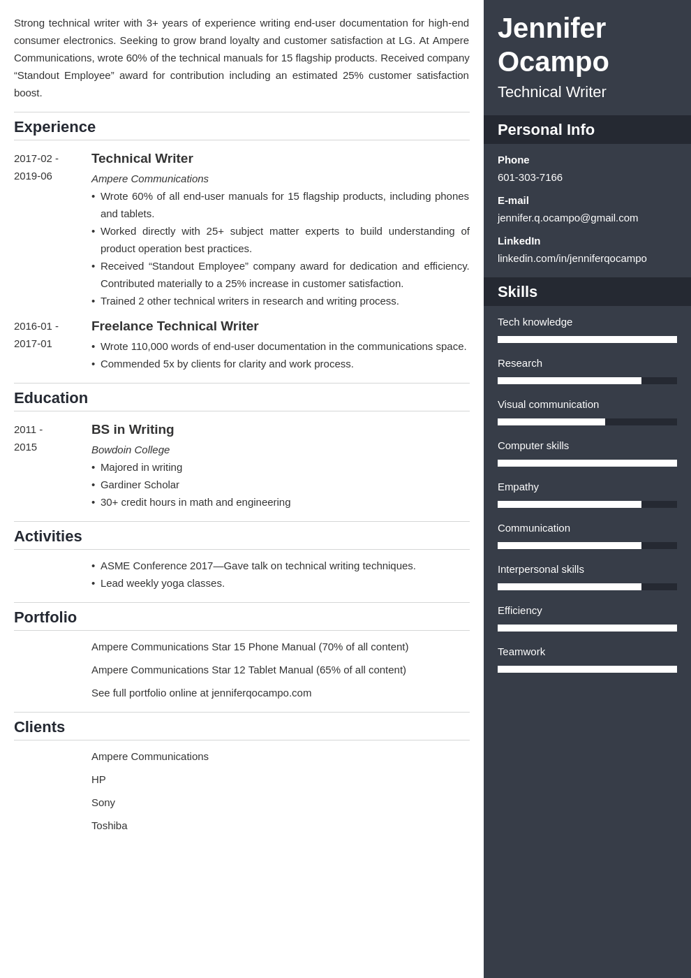 technical writer resume example template enfold