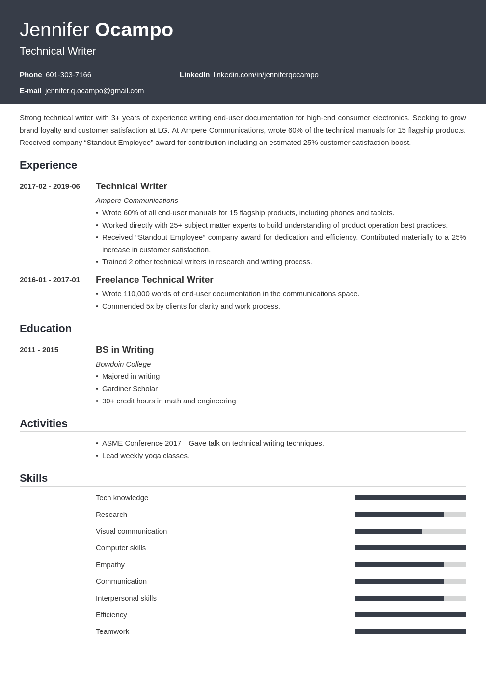 technical writer resume example template influx