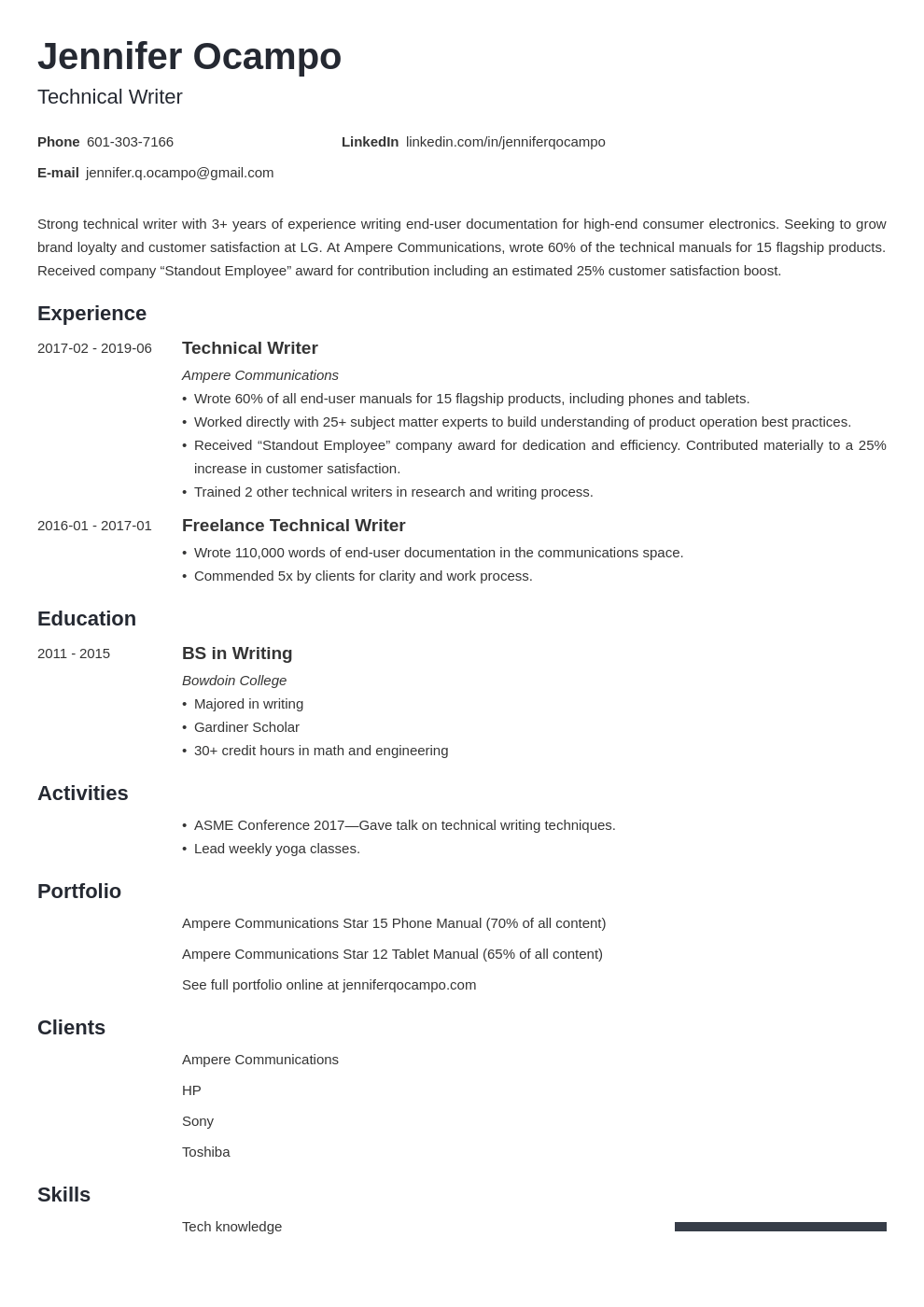technical writer resume example template minimo