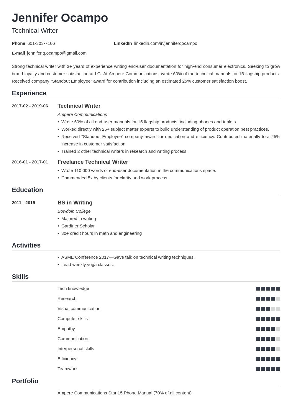 technical writer resume example template nanica