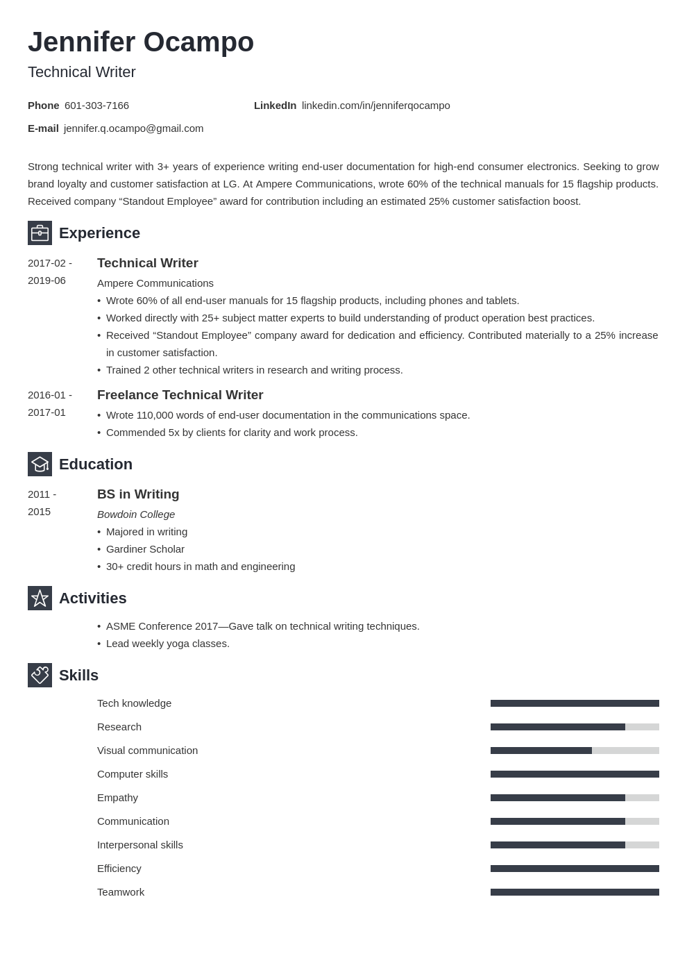 technical writer resume example template newcast