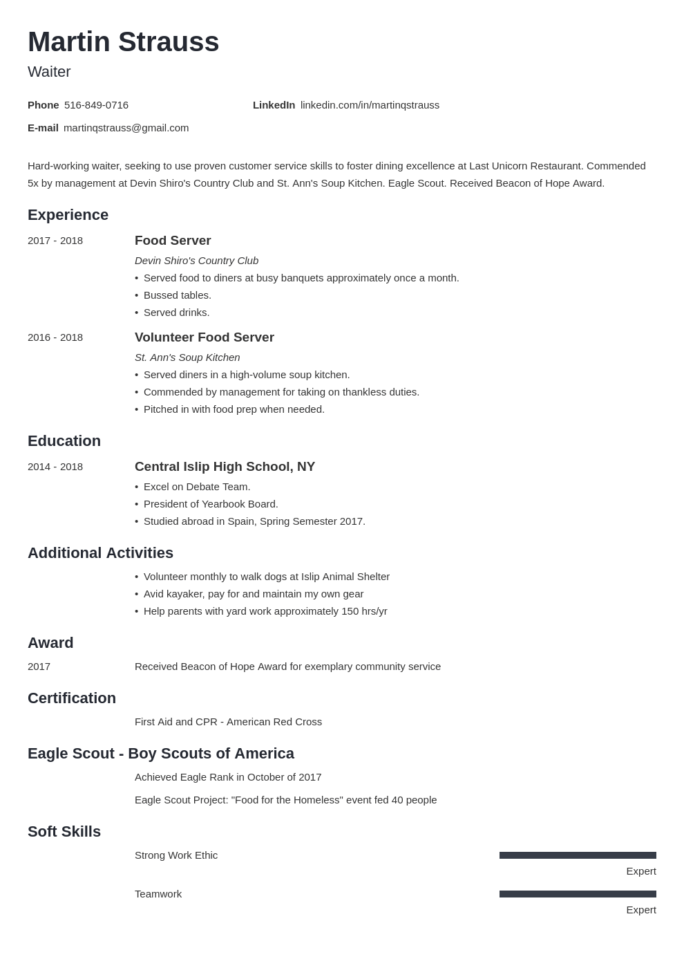 teen resume example template minimo