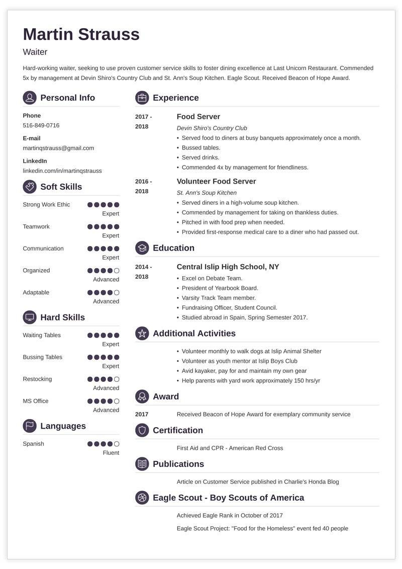 resume examples for teens  templates  builder  u0026 guide  tips