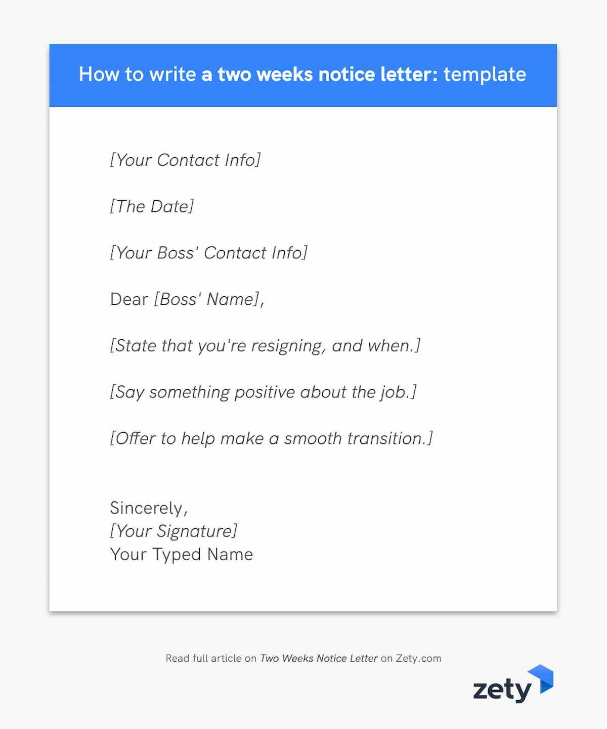 Template for how to write a two weeks notice letter